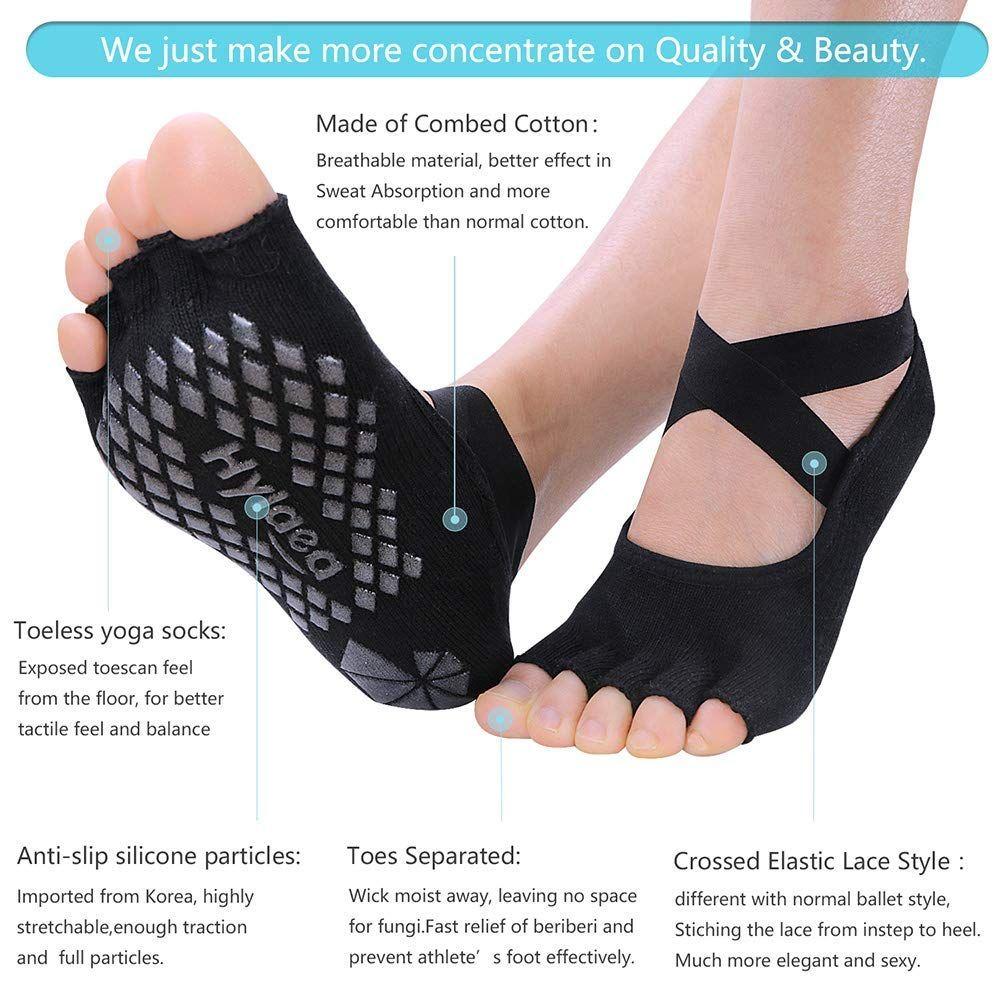 Yoga Socks Soft Pilates Barre Dance Ballet Non Slip Toeless Half Toe Grip Socks