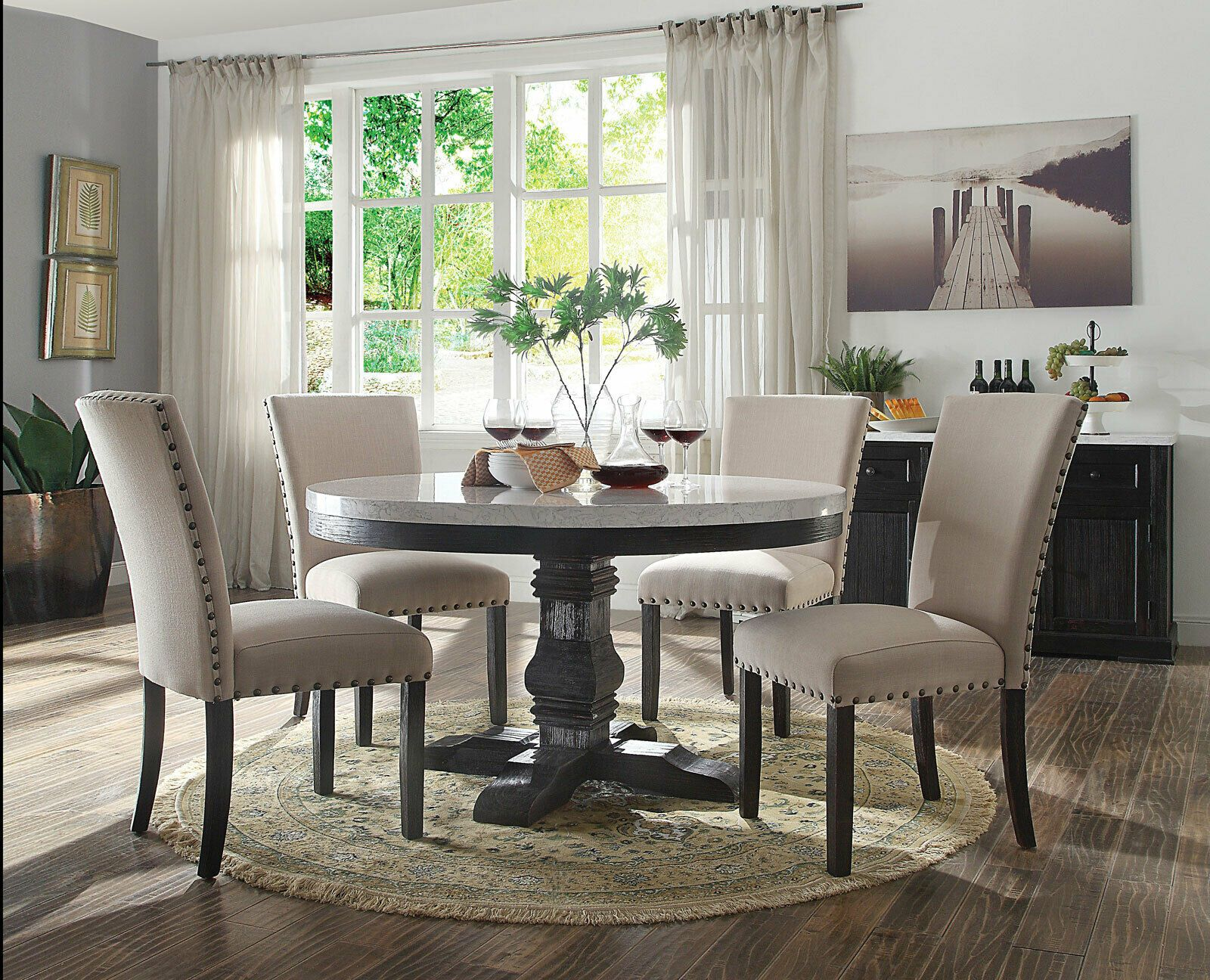 Details About Gisela 5 Pieces Modern Dining Room Set Round White Marble Table Beige Chairs Round Dining Table Sets Side Chairs Dining Luxury Dining Room