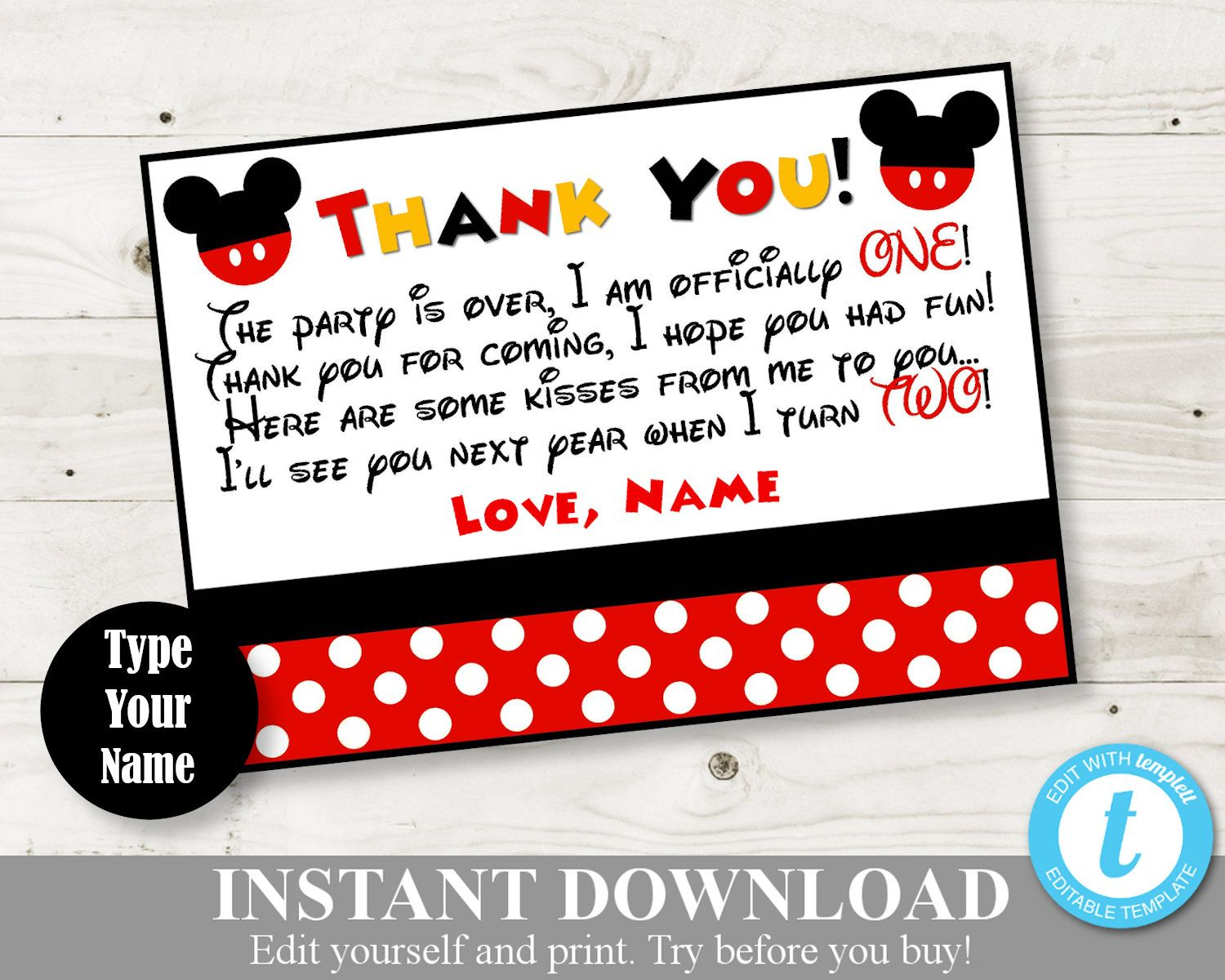 Instant Download Editable Mouse 5x7 One Year Thank You Cards Etsy Mickey Mouse Birthday Party Thank You Cards Mickey Mouse Themed Birthday Party