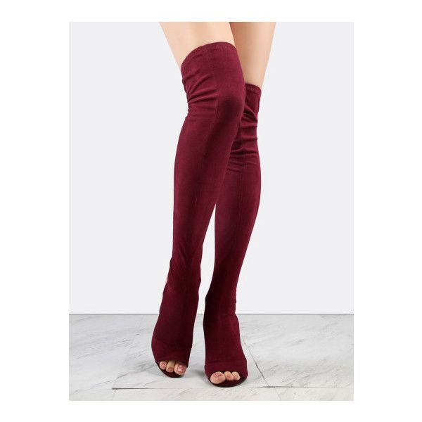SheIn(sheinside) Faux Suede Chunky Heel Thigh Boots WINE (€72) ❤ liked on Polyvore featuring shoes, boots, burgundy, over the knee high heel boots, peep toe boots, burgundy boots, chunky high heel boots and peep-toe boots