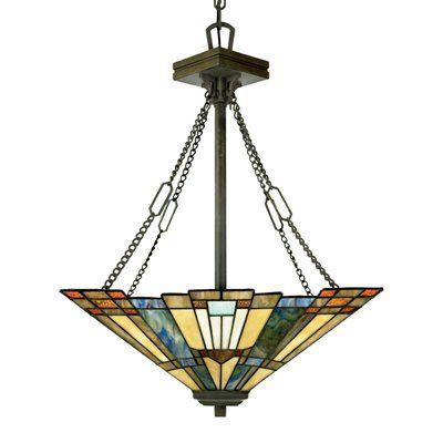 Quoizel TFIK2817VA 3 Light Inglenook Bowl Large Pendant Tiffany Stained GlassStained