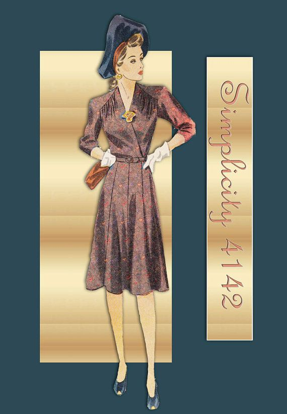 54d91a43635cf SIMPLICITY 4142 Vintage 1940s Dress Pattern Swing Era One Piece Day ...