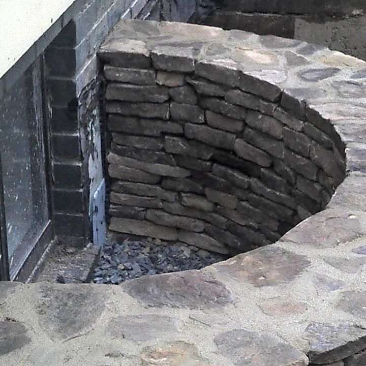 Stacked Stone Basement Window Well Window Well Basement Windows Basement Window Well