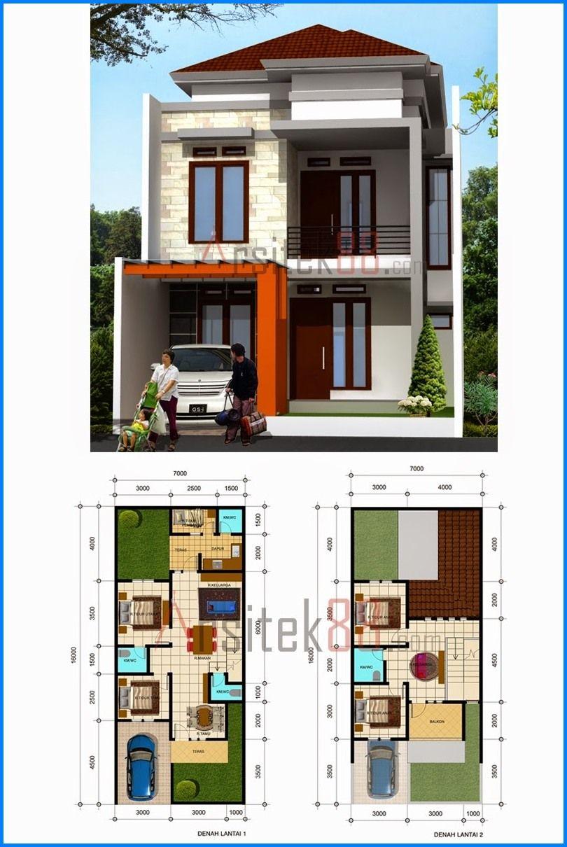 Denah Rumah 2 Lantai Ukuran 8x8 Desain Denah Rumah Modern Desain