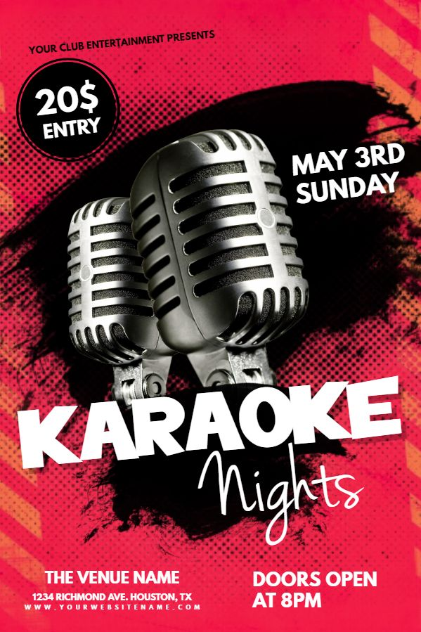 Karaoke Party Flyer Idea Click To Customize  Karaoke Poster
