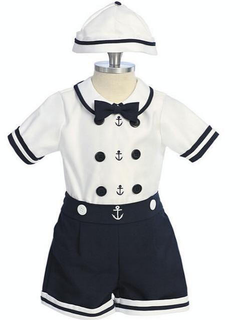 Baby babies boy boys white navy sailor suit anchor 2 piece cotton outfit