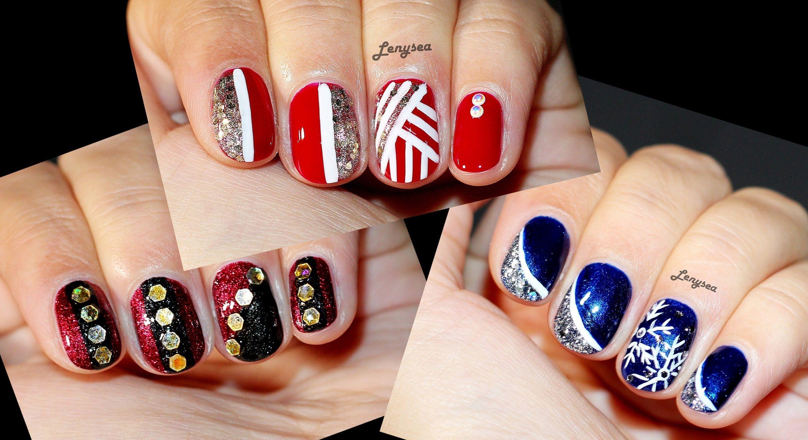 Three Christmas Designs For Short Nails Nails Nails Nails