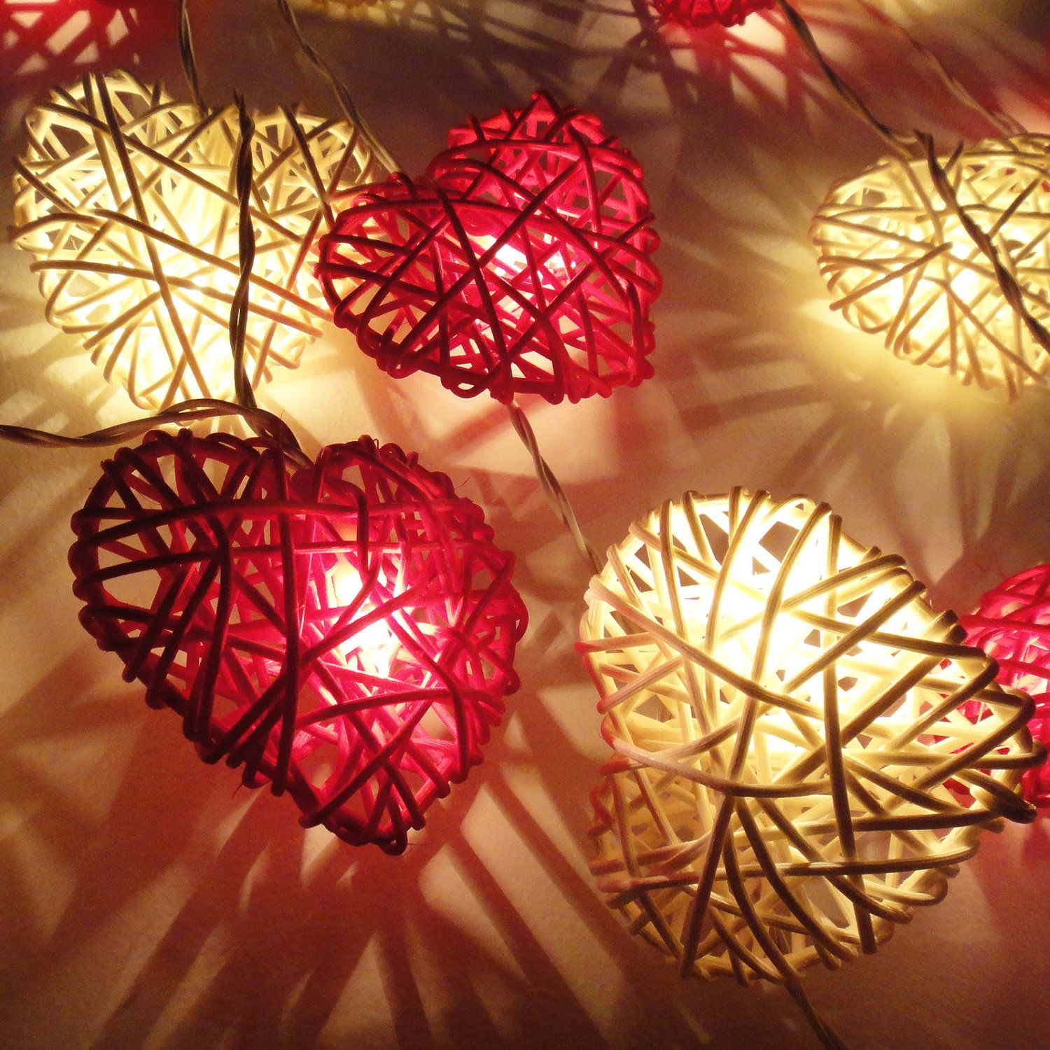 20 red white heart rattan lover fairy lights string valentine party patio wedding floor table or hanging gift home decoration - Valentine String Lights