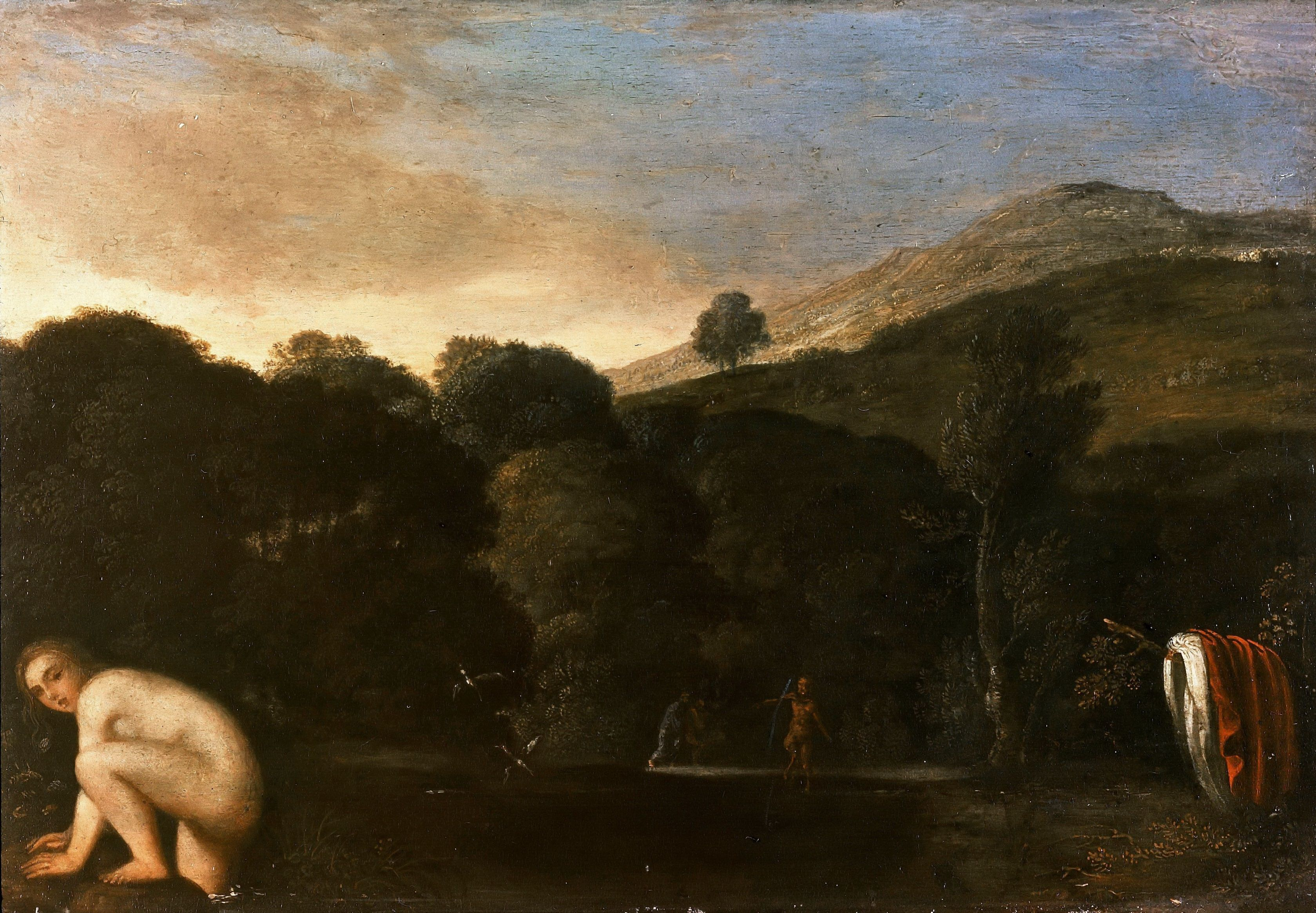 Adam Elsheimer ~ Een nimf op de vlucht voor saters ~ ca. 1609 ~ Olieverf op koper ~ 14 x 20 cm. ~ Gemäldegalerie der Staatlichen Museen zu Berlin