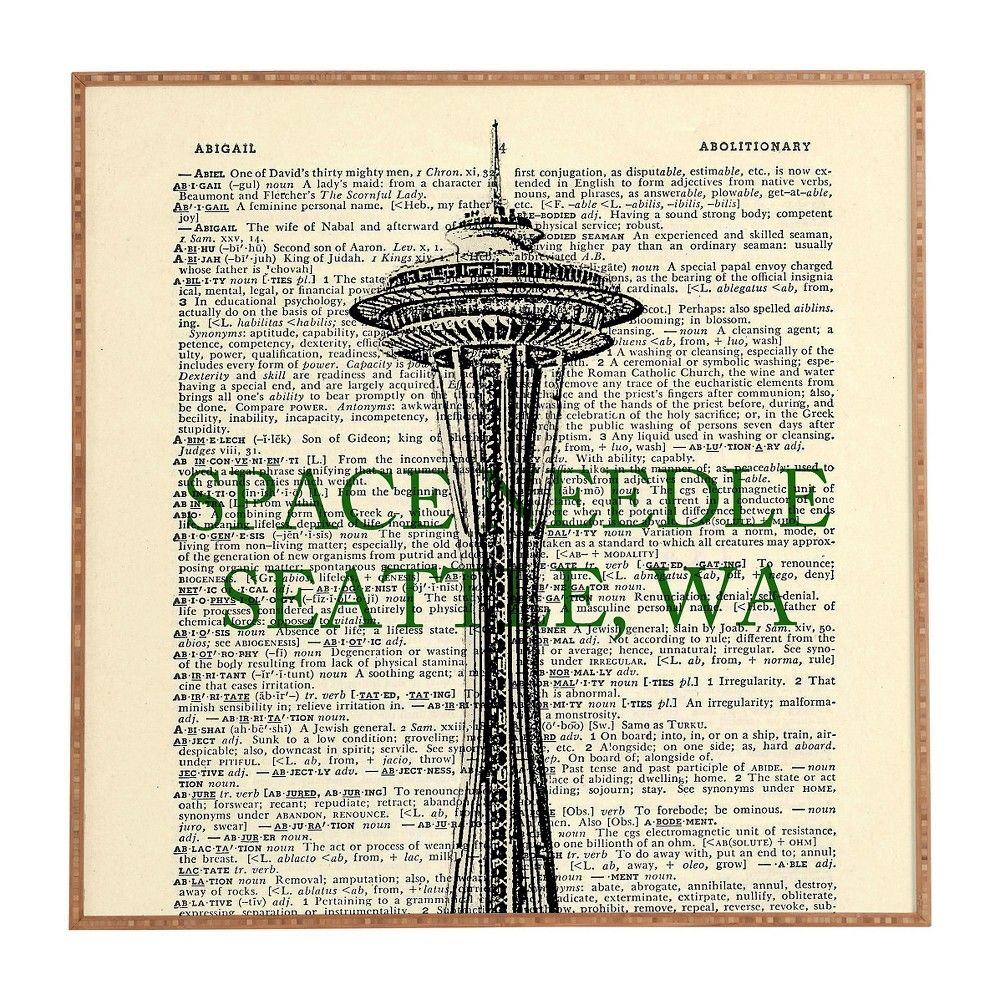 DENY Designs DarkIslandcity Space Needle On Dictionary Paper Framed Wall Art, Green Beige