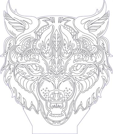 3d Illusion Wolf Head Premium Vector Drawing 3d Illusions Illusions 3d Illusion Art