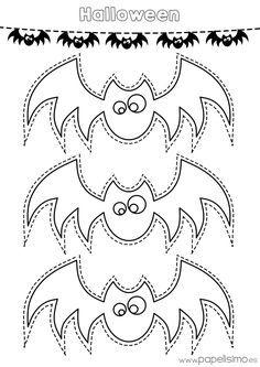 Plantilla Murcielagos Colorear Y Recortar Guirnalda De Papel Plantillas De Halloween Halloween Para Colorear Arana De Halloween