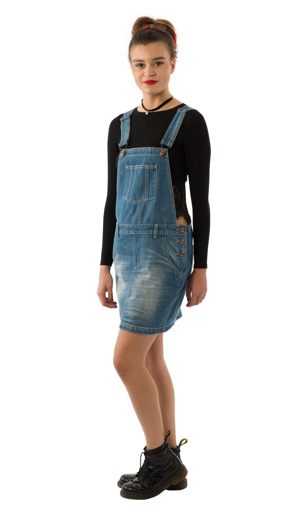 b08c6d50e50  USKEES Claire short denim dungaree dress - lightwash.  denimfashion   biboveralldress  bibskirt