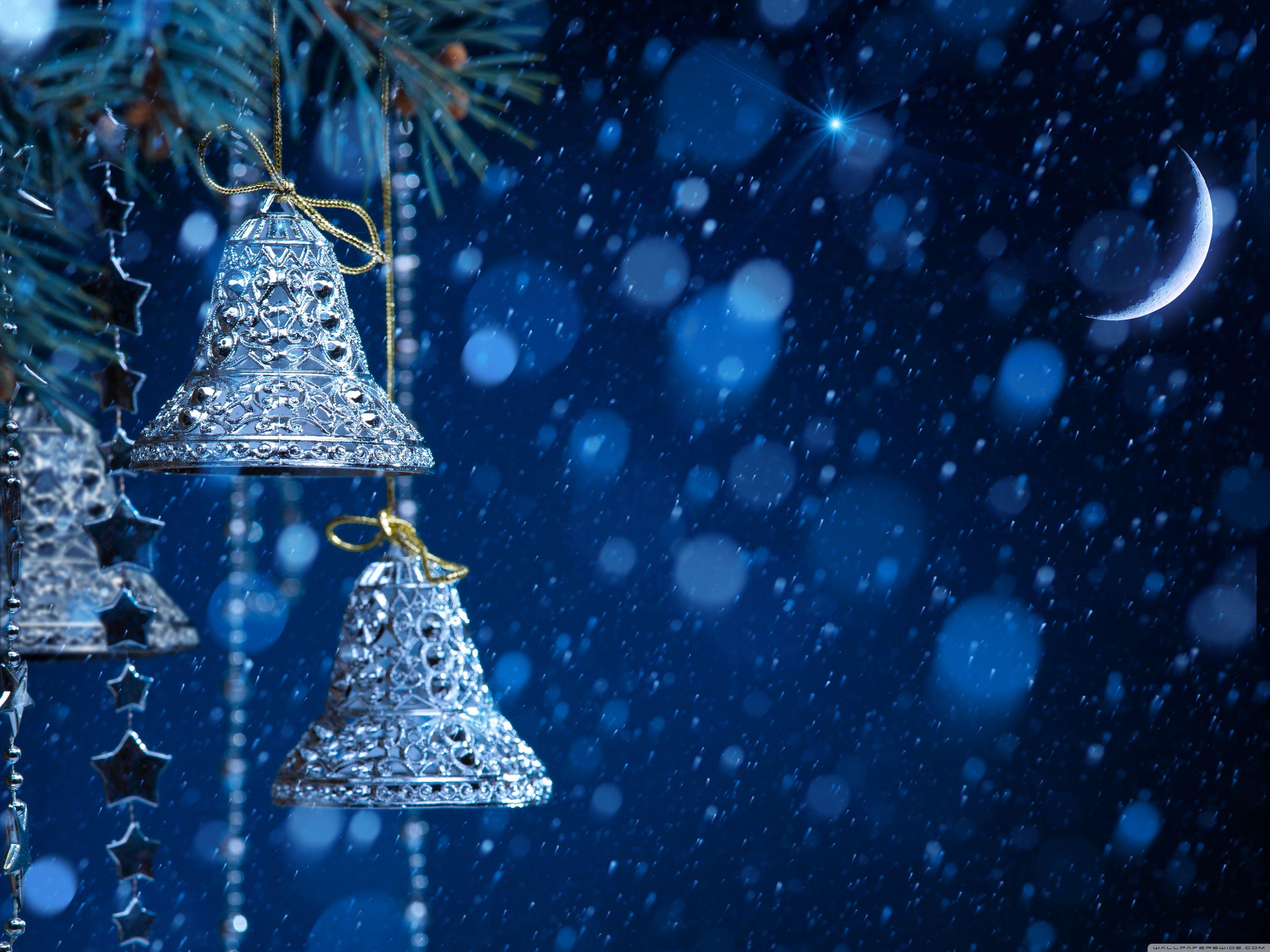 Christmas Bells Hd Desktop Wallpaper Widescreen High Definition Fullscreen Mobile Silver Christmas Christmas Wallpaper Ipad Air Wallpaper