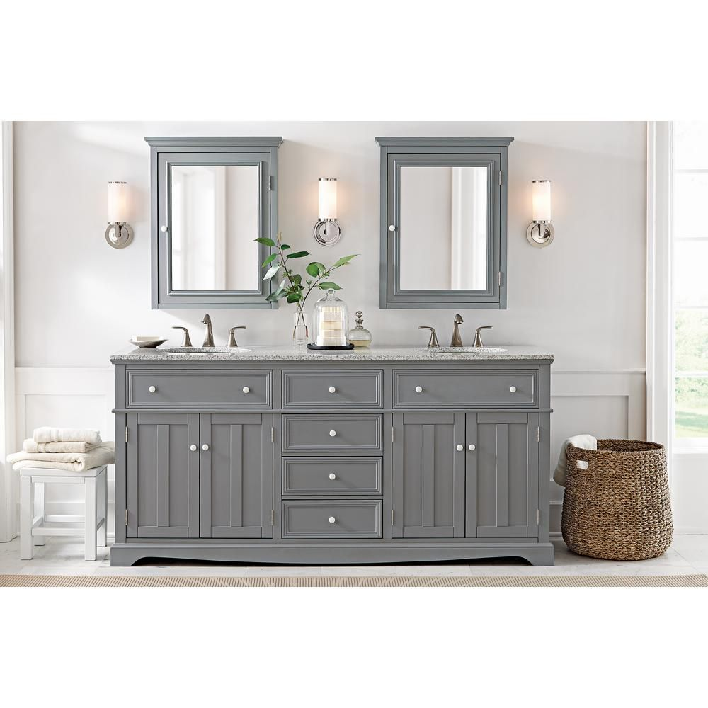 Home Decorators Collection Fremont 72 in. Double Vanity in Grey with Granite Vanity Top in Grey with White Basin-2943900270 - The Home Depot