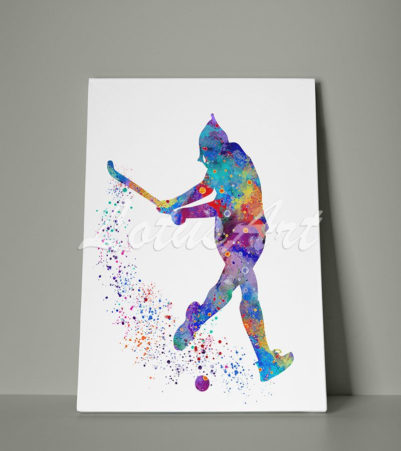 Girl Field Hockey Canvas Wall Art Watercolor Sport Print Home Decor Wall Hanging Nursery Room Decor Painting Gift Personalised Custom Poster Trendy Wall Art Canvas Wall Art Wall Canvas