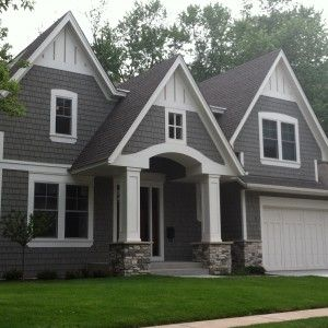 Grey Hardie Plank Siding And White Garage Door For Exterior Design ...