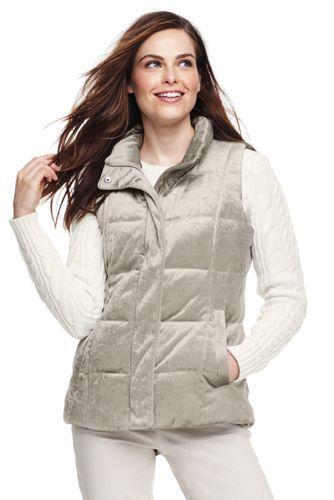 5e231202376f Women's Velvet Puffer Vest from Lands' End | Style Taupe | Puffer ...