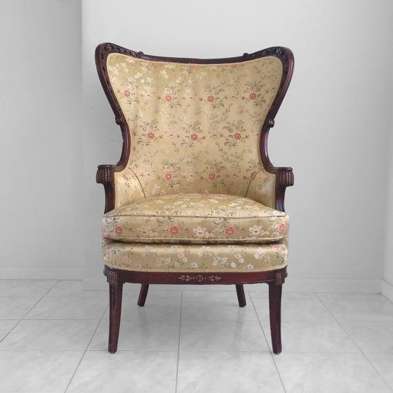 1940s Antique French Regency Carved Mahogany Wing Back Arm Chair Chair French Antiques Armchair