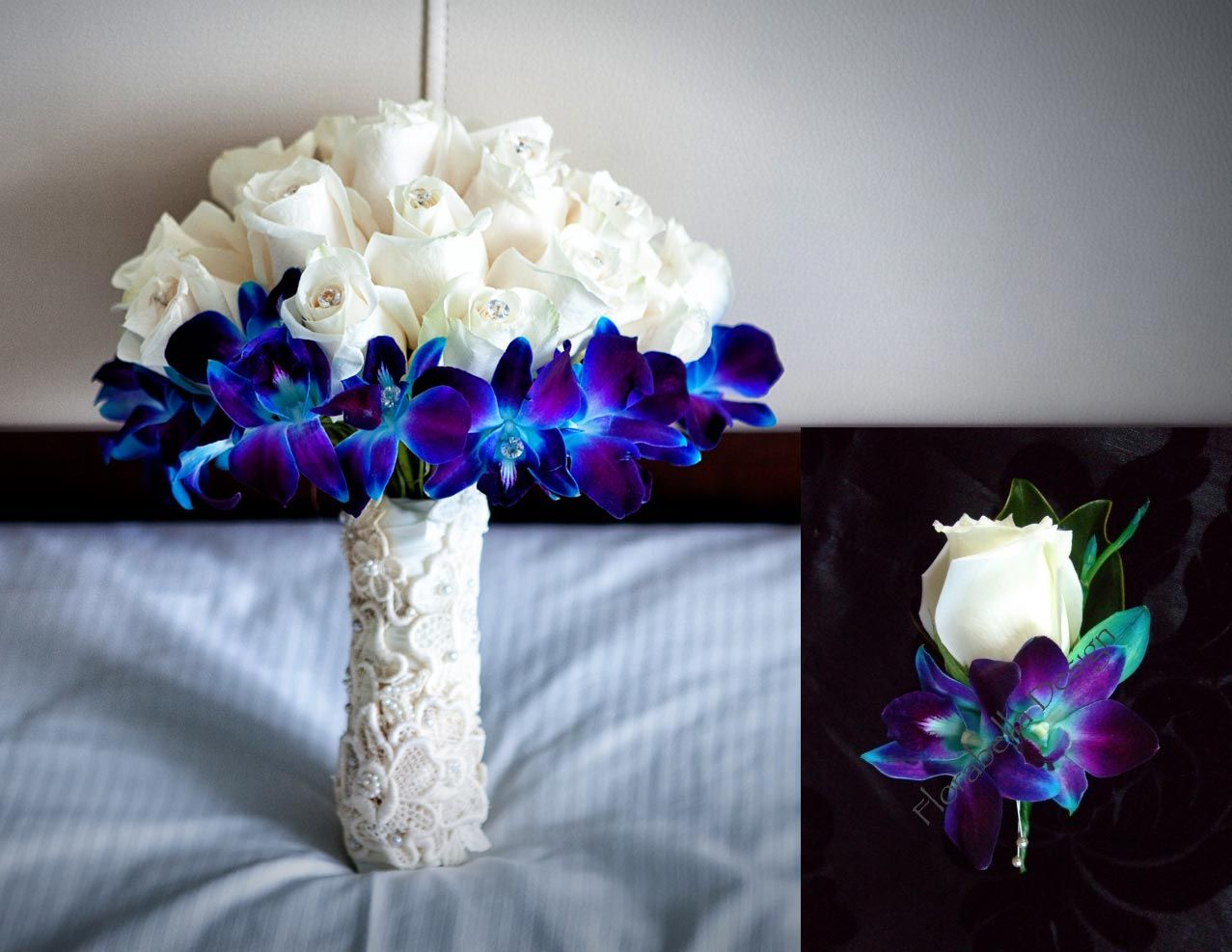 Ivory rose and blue orchid reception wedding flowers