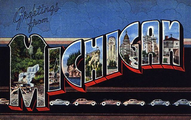 Greetings from the automobile state pinterest lakes greetings from michigan vintage postcard m4hsunfo