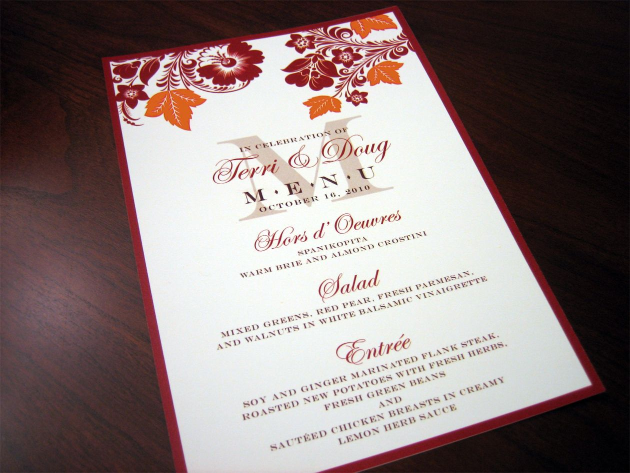 Custom Menu Cards – Red & Orange Fall Theme | Autumn wedding ...