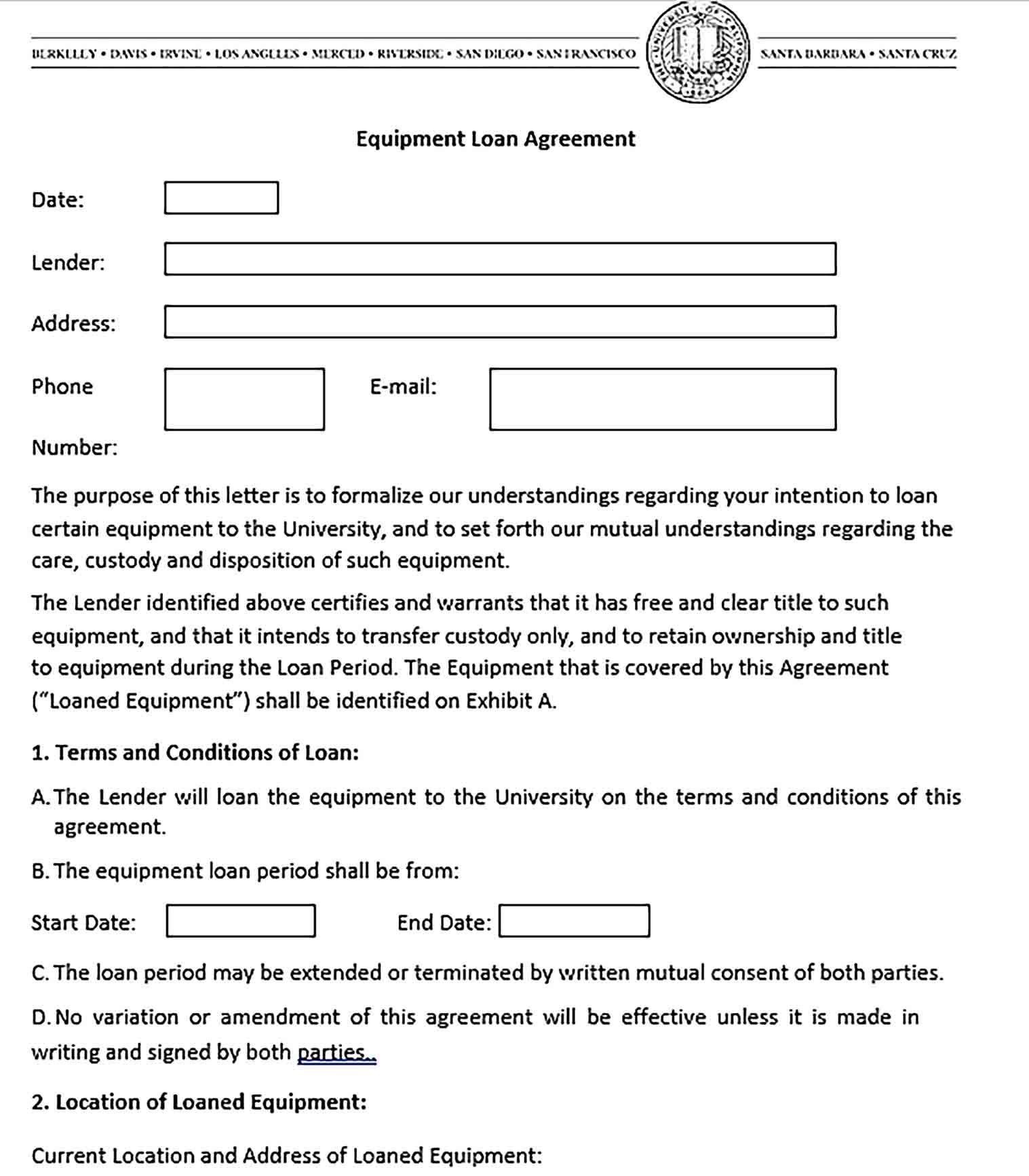 Equipment Loan Agreement Template Sample Loan Business Template Agreement
