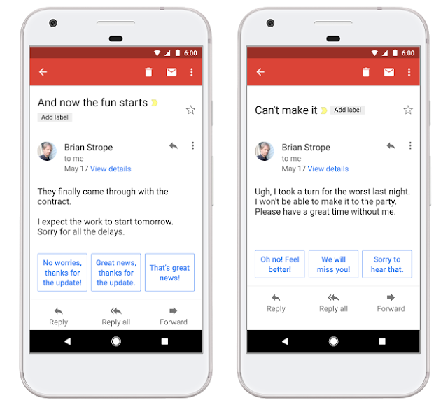 Google Brings Smart Replies To Gmail On IOS And Android