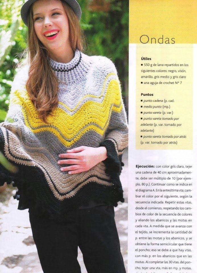 Poncho Ondas con Cuello Patron - Patrones Crochet | favoritos ...