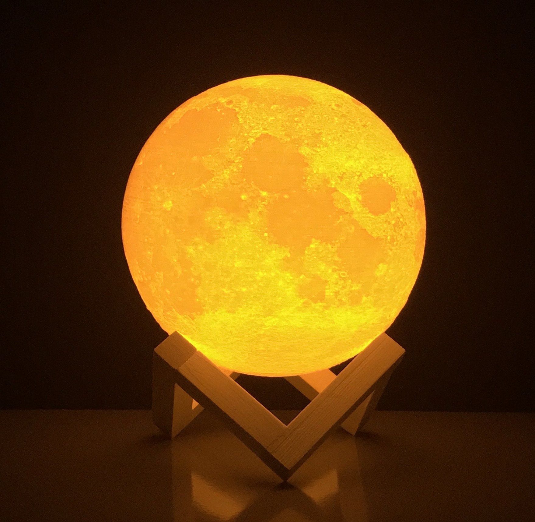 Moon Lamp Round Night Light 3d Printed Free Ebook Dimmable Brightness Touch Sensor Usb Charger Warm And Cool White Lights Amazin Lamp Night Light White Light