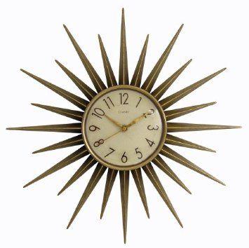 Chaney 75153 Retro Star Clock Amazon Com Home Kitchen Gold Wall Clock Sunburst Clock Wall Clock