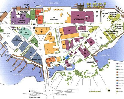 Map of Granville Island Vancouver BC