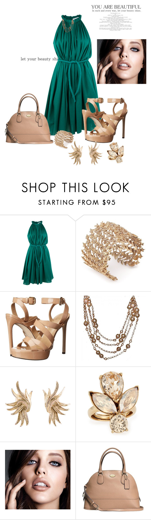 """""""Untitled #2540"""" by janicemckay ❤ liked on Polyvore featuring Apiece Apart, Joanna Laura Constantine, Stuart Weitzman, Chanel, Oscar de la Renta, Maybelline and Coach"""