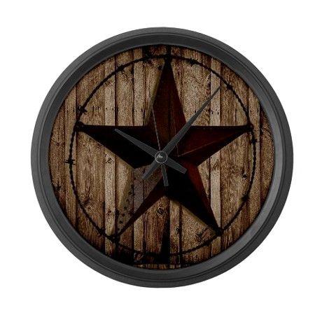 Barnwood Texas Star Large Wall Clock By Focusedonyou Cafepress Barn Star Decor Texas Star Decor Large Wall Clock