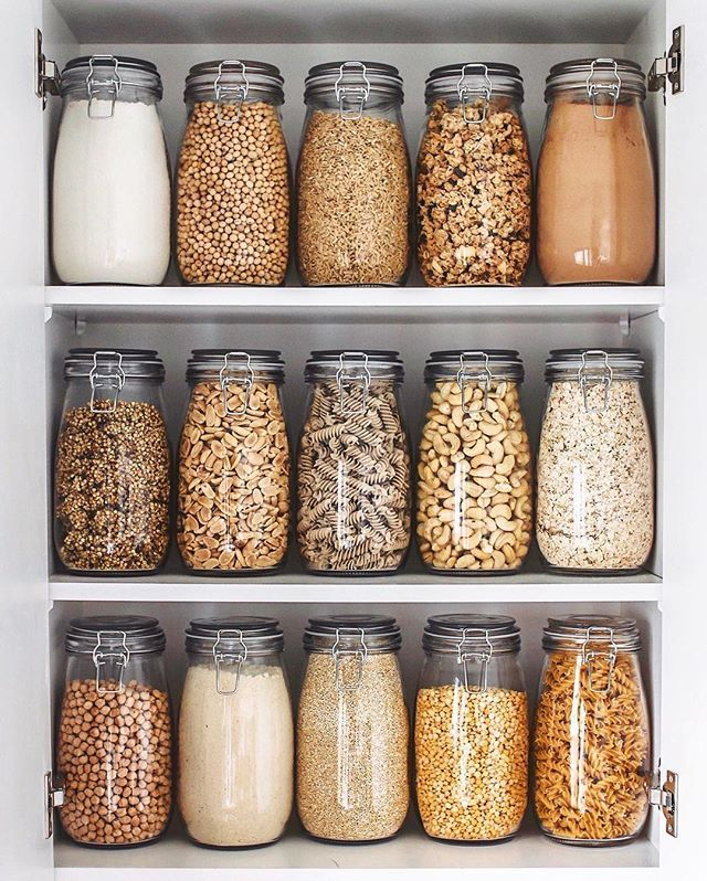 "Photo of CHERIE TU on Instagram: ""✨Fully Stocked Pantry!✨ Just filled up all my jars with my staple dried goodies which I'll be using up throughout the next month! Pictured…"""