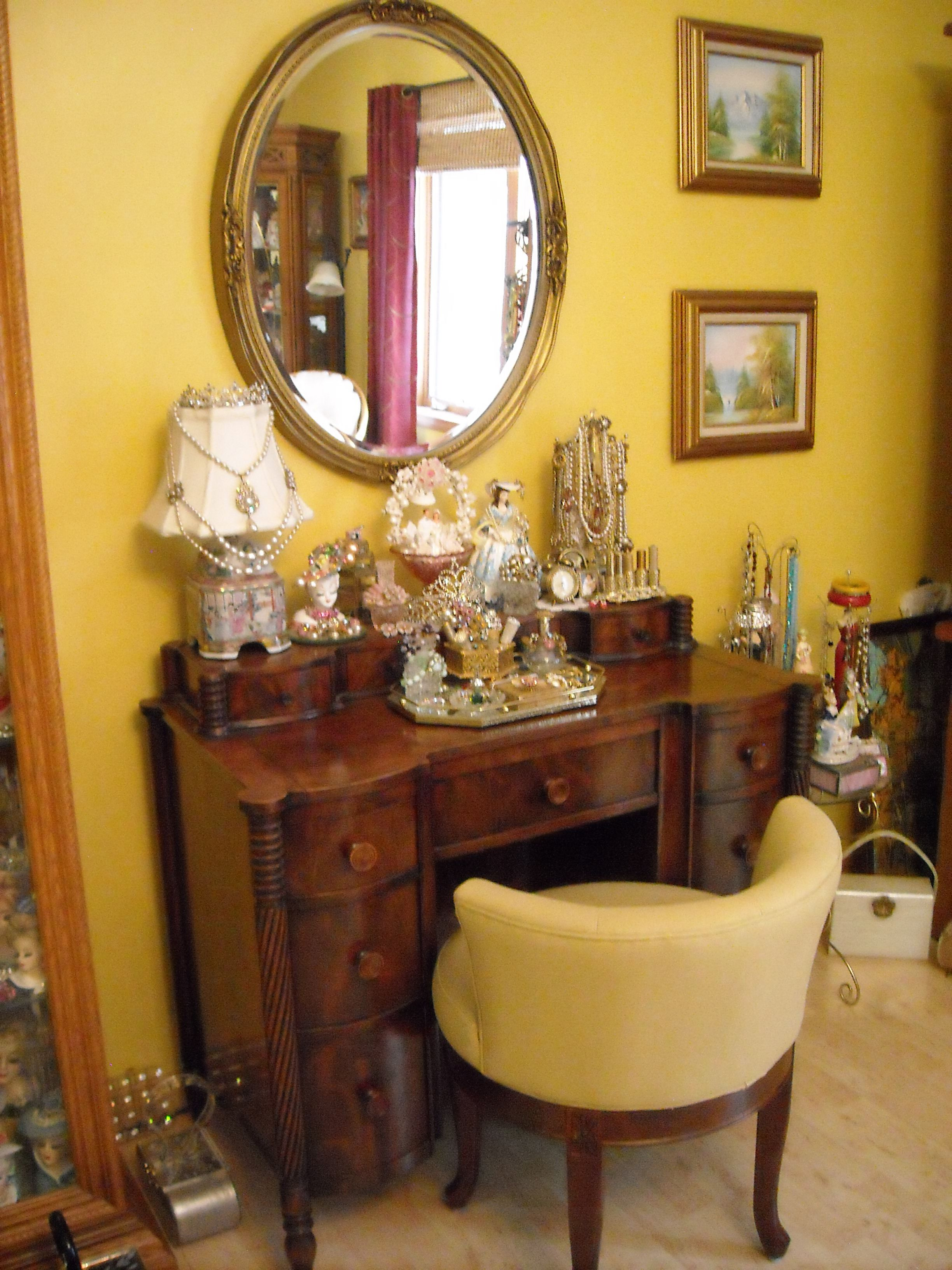 Vintage desk used as a vanity vanitydressing tables pinterest