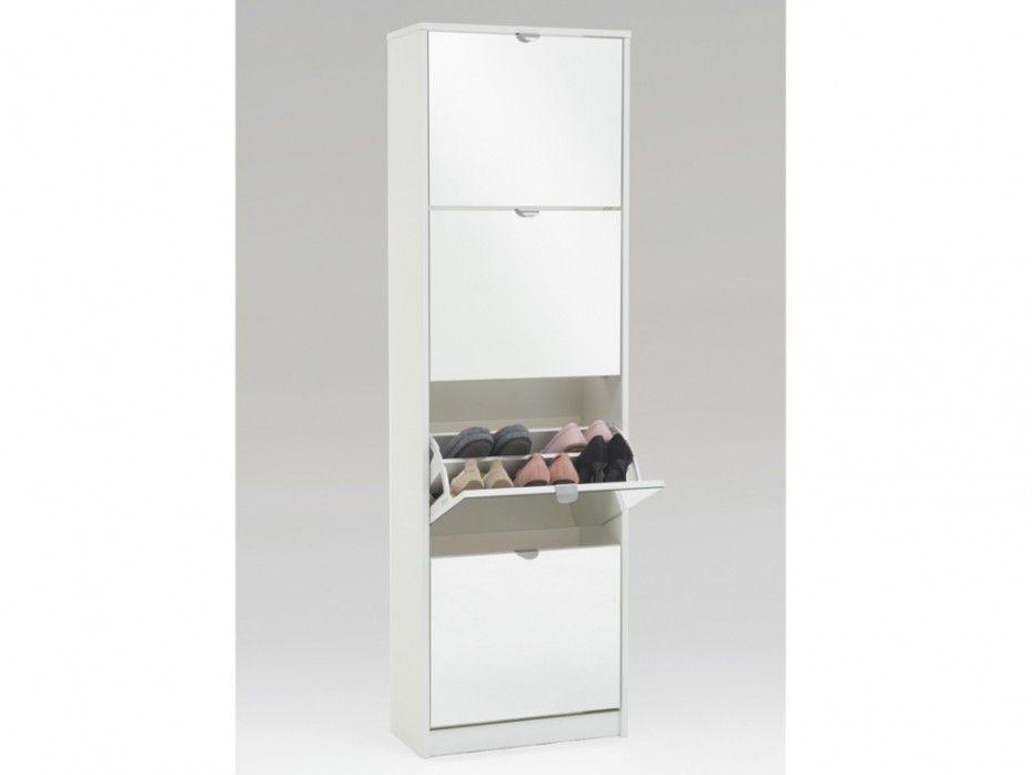 Meuble A Chaussures Walker 1 Porte 1 Miroir Blanc Miroir Blanc Meuble Chaussure Meuble Rangement