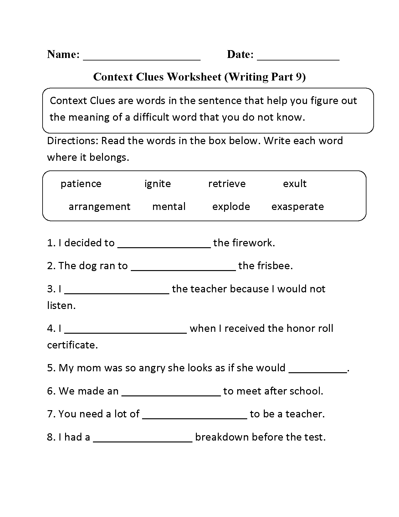 Context Clues Worksheet Writing Part 9 Intermediate