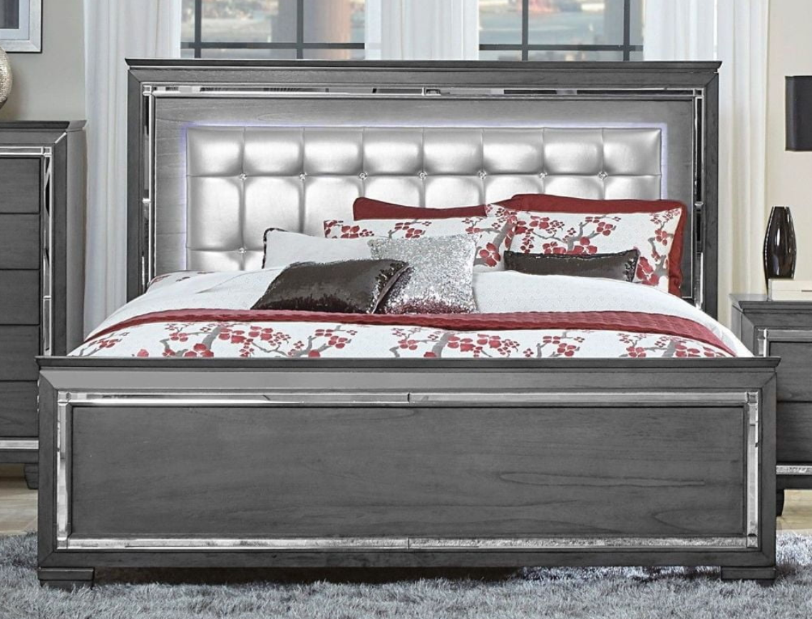 Homelegance Grey Allura Queen Bed 1916gy 1 Savvy Discount