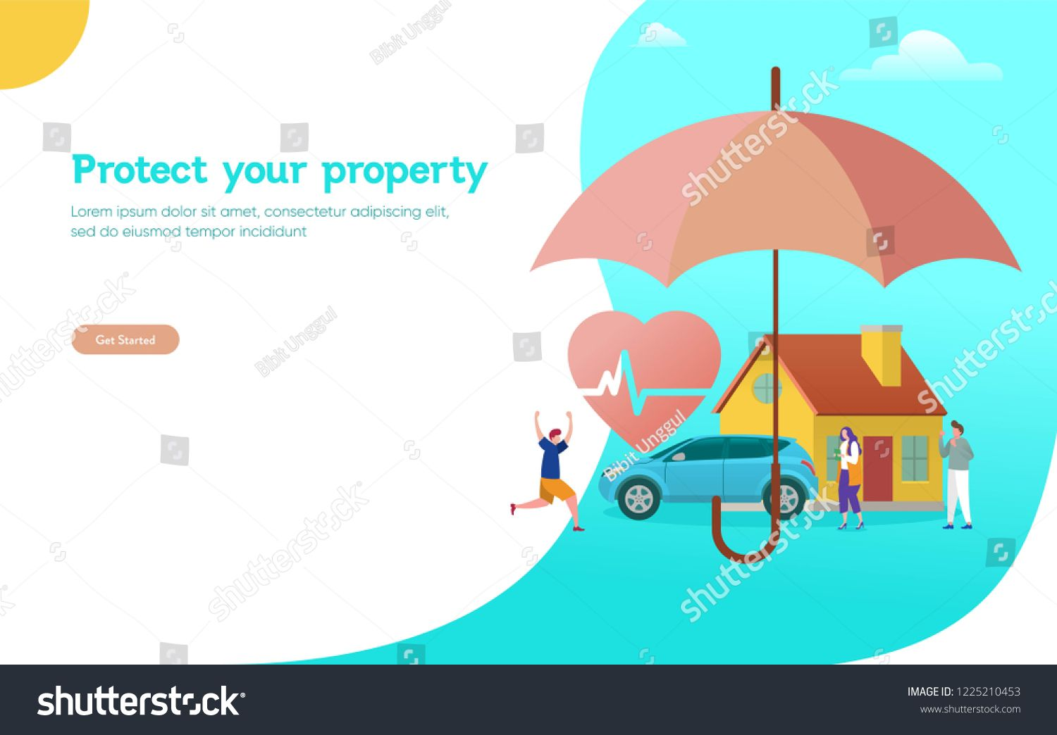 Property And Health Insurance Vector Illustration Concept Agent