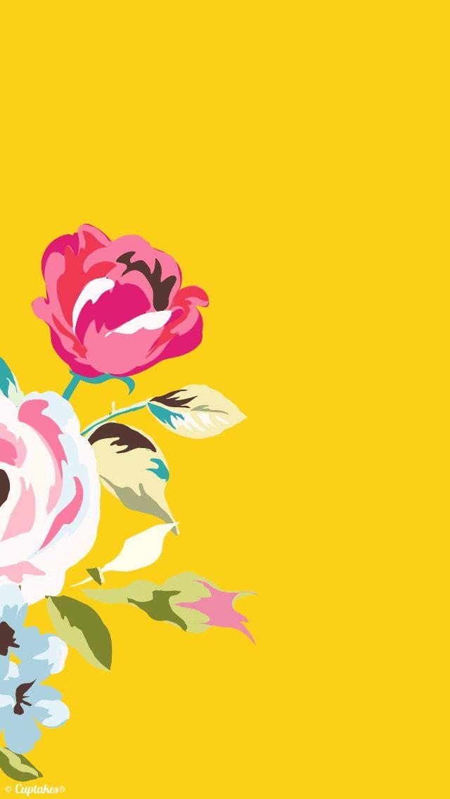 Golden Yellow pink roses floral iphone wallpaper background phone lockscreen