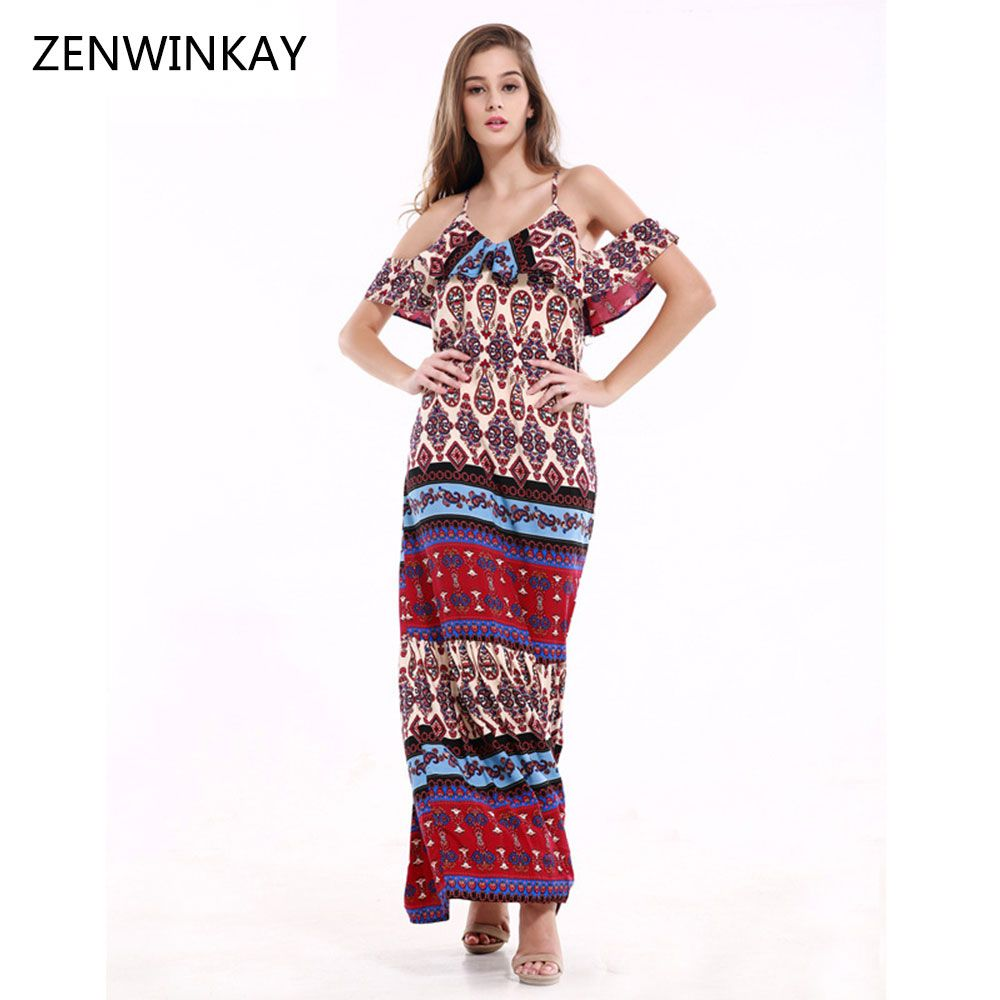 Click to buy ucuc summer women flare maxi dress strap floor