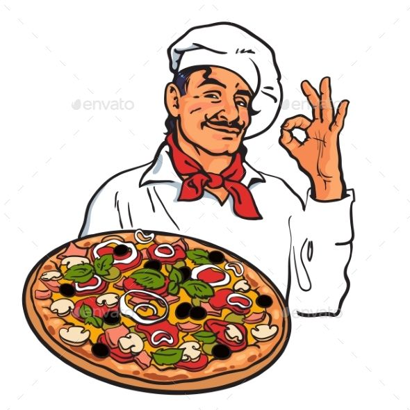 Sketch Of Smiling Italian Chef Holding Pizza Pizza Drawing Italian Chef Cartoon Photo