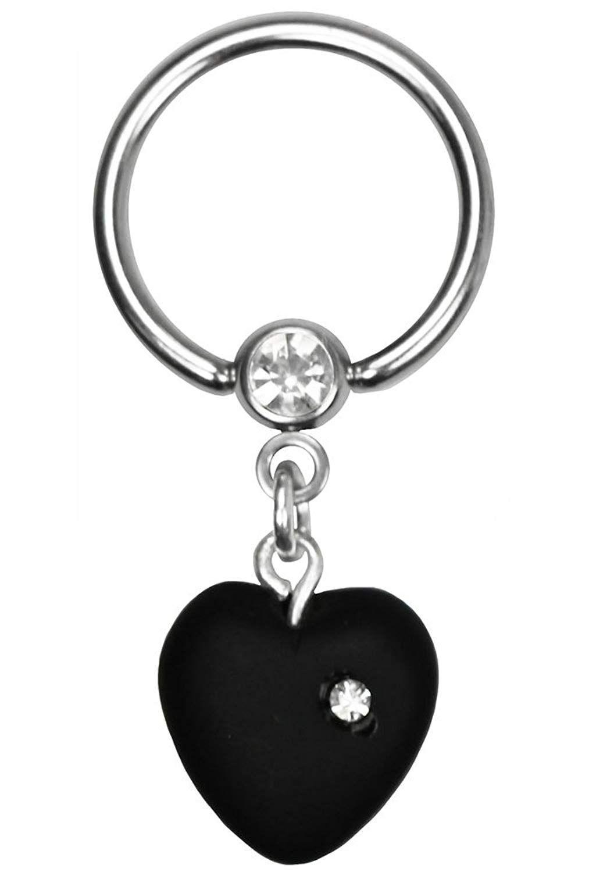 BodySparkle Body Jewelry Black Dangle Heart Nipple Ring-Steel Captive Ring-16g-7//16-11mm