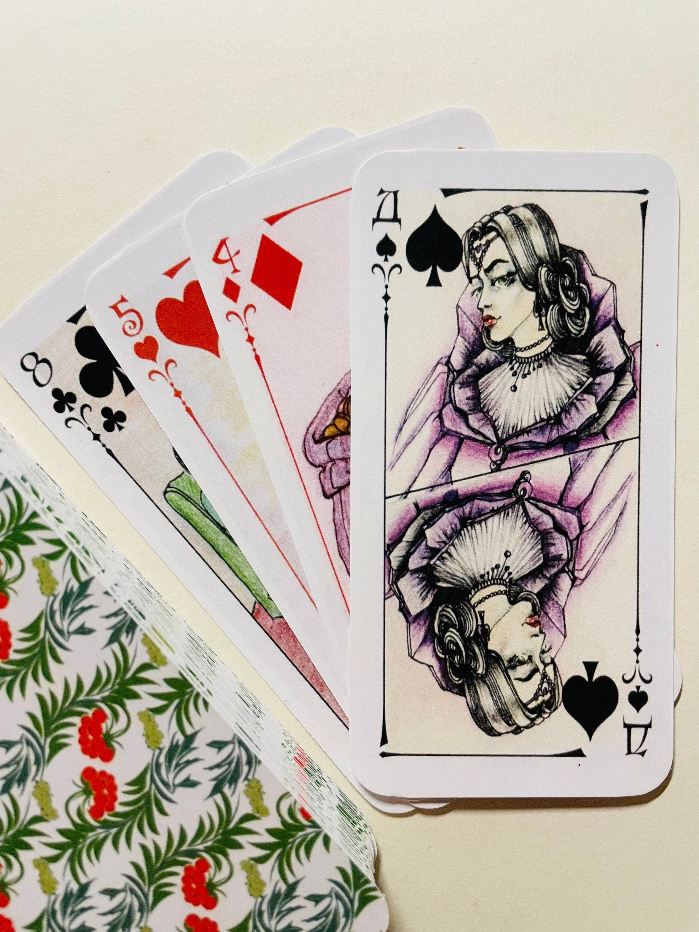 """""""Please note the deck is sold in a bag without a box and an instruction. Witchy Oracle is a beautiful and easy-to-use deck of cards. The deck is divided into four suits, each of which characterizes the four sides of a person's life and his relationship with the world - love and family, money or career, business, education and travel, our enemies, losses and failures. Thanks to clear drawings, it is suitable for both beginners and experienced fortune-tellers. Included: 52 cards + 2 Joker`s card C"""