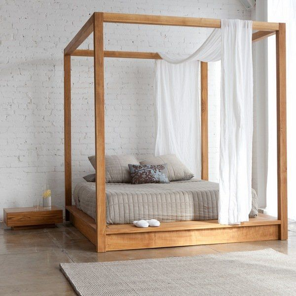 Canopy Bed In Minimalist Style With Simple Wooden Frame Bed Frame Wooden Beds Wooden Bed Frame Ideas Modern Canopy Bed Canopy Bed Frame Outdoor Canopy Bed