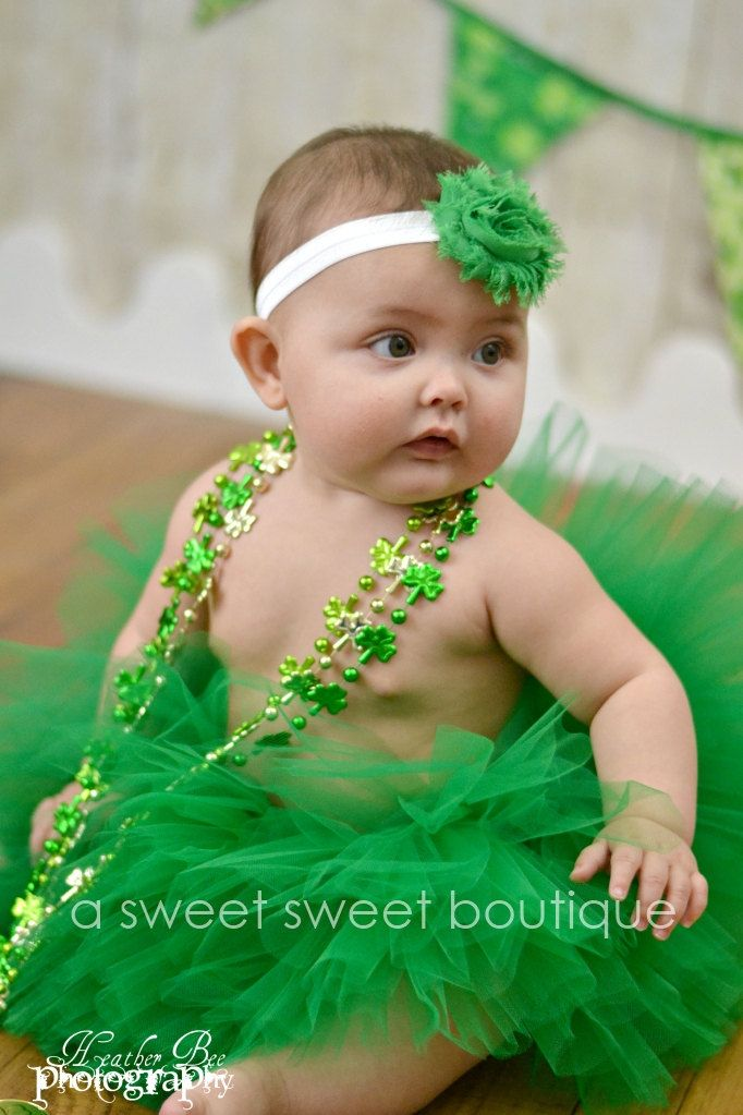 Items similar to belle of ireland tutu st patricks day tutu baby girls boutique style custom made with matching flower headband newborn photo prop on etsy