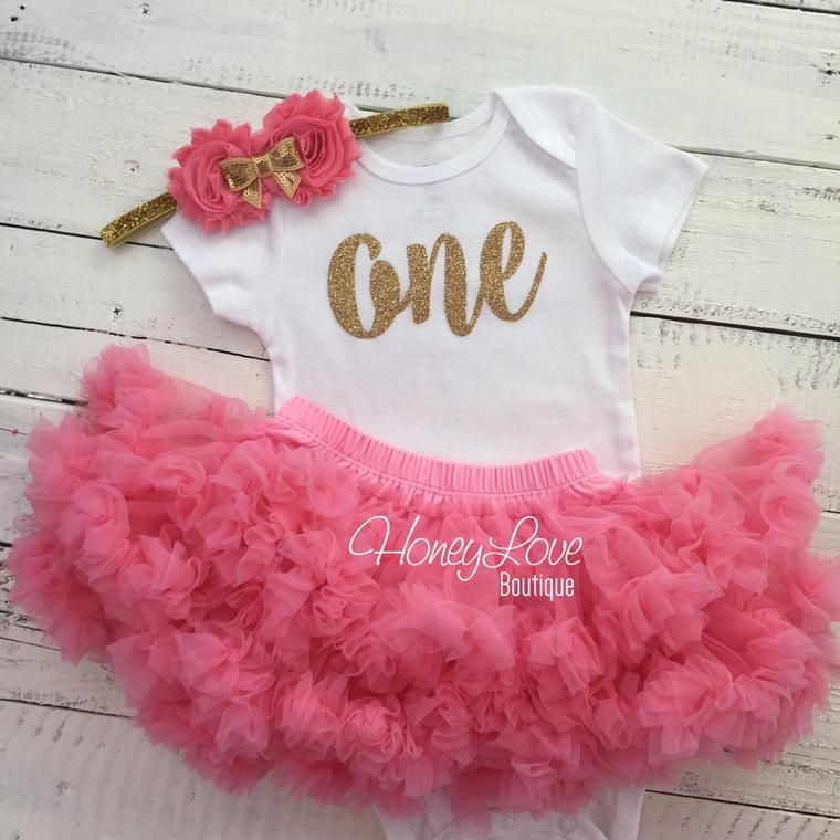 One 1st Birthday Outfit Coral and Gold glitter