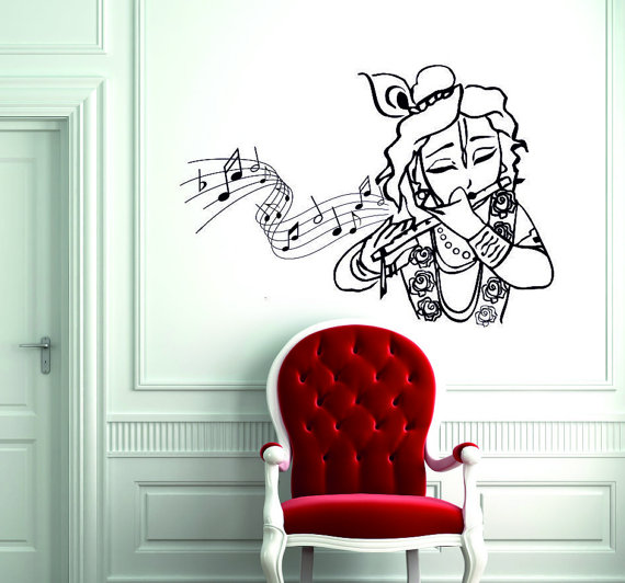 lord krishna god wall decal - hindu god wall decal - krishna playng