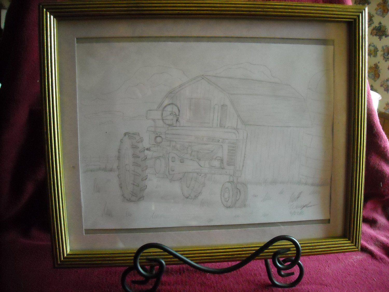 Hand drawn in pencil john deere a tractor 9 x 12 framed art by hand drawn in pencil john deere a tractor 9 x 12 framed art by matt wenzel jeuxipadfo Images